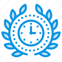 achievement, award, badge, clock, deadline, time, wreath icon
