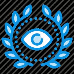 achievement, award, eye, spy, wreath icon