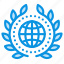 achievement, award, badge, earth, globe, network, web, wreath icon