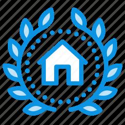 achievement, house, wreath icon