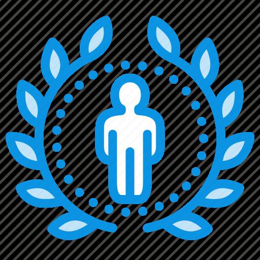 achievement, award, badge, profile, rank, top, wreath icon