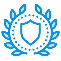 achievement, award, badge, protect, secure, shield, wreath icon