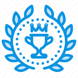achievement, award, badge, cup, prize, rank, top, wreath icon