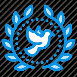 achievement, award, badge, bird, dove, peace, wreath icon