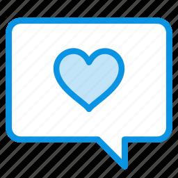 bubble, chat, comment, favorite, heart, love, message icon
