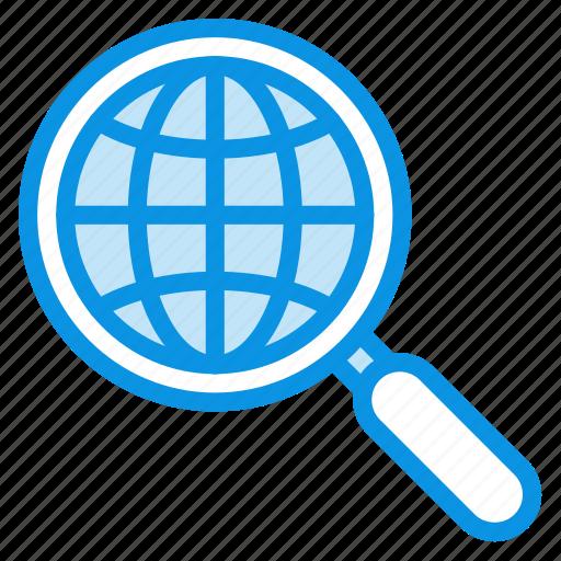 find, globe, internet, network, search, seo, web icon