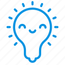 happy, kawaii, lamp icon