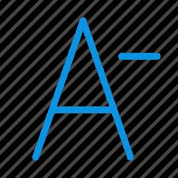 decrease, design, font, smaller icon