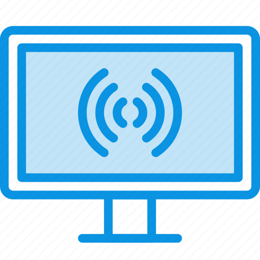 broadcast, connection, device, internet, television, tv, watch, wifi icon
