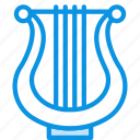 audio, instrument, lyre, music, sound icon