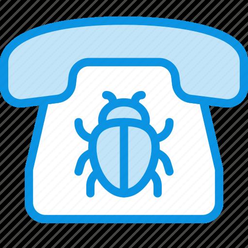 bug, listening, phone icon