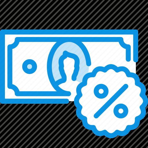 cash, credit, deposit, discount, finance, money, percent icon