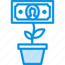 business, finance, grow, growth, money, plant, rise icon