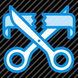 cut, enter, open, opening, ribbon, scissors, start icon