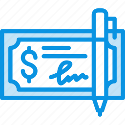 bank, check, cheque, finance, money, pen icon