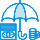 bank, deposit, finance, money, protected, safe, secure, umbrella icon