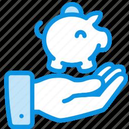 bank, cash, deposit, finance, hand, money, piggy icon