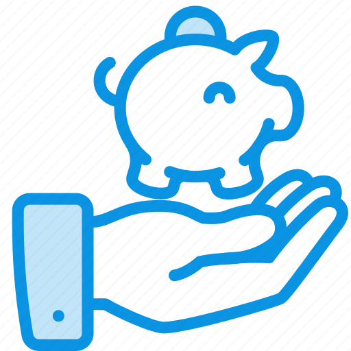 hand, money, piggy bank icon