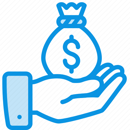 bag, give, gold, hand, money, pay icon