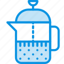 brewing, coffee, drink, french, tea, teapot icon