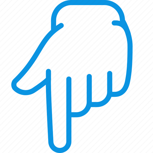 down, finger, forefinger, gesture, hand, touch icon