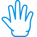 fingers, five, gesture, hand, release icon