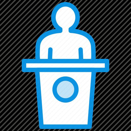 deputy, politician, presentation, speech icon