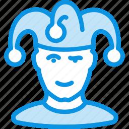avatar, clown, human, jester, joker, man, user icon