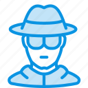 avatar, glasses, hat, incognito, privacy, spy icon