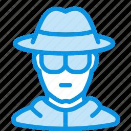 avatar, glasses, hat, incognito, privacy, spy icon