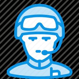 avatar, glasses, helmet, human, radio, soldier icon