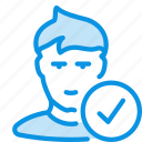 added, avatar, check, friend, human, signed, user icon