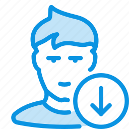 avatar, down, human, next, user icon