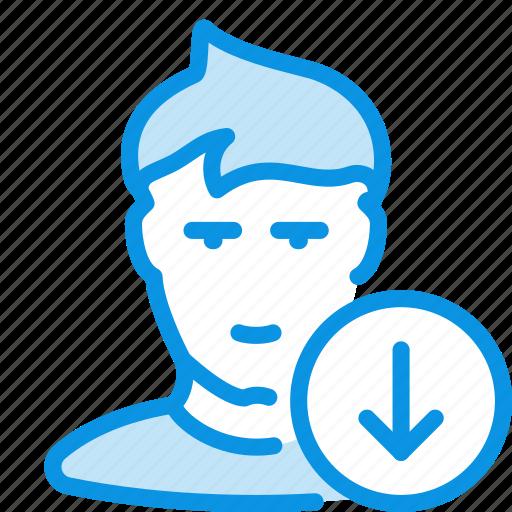 down, human, user icon