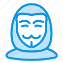 anonym, anonymous, avatar, hacker, human, user, vendetta icon