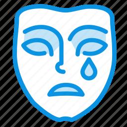 dolorous, emotion, face, mask, mimicry, sad, sadness icon
