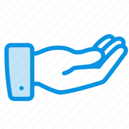 alms, hand, palm, request, share, suit icon