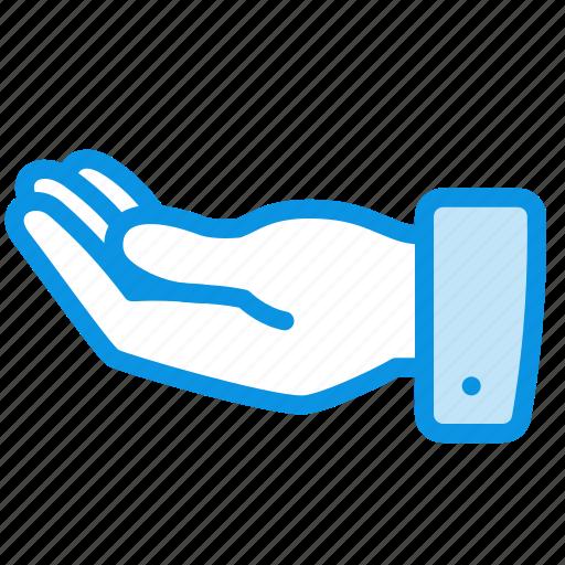 alms, hand, request icon