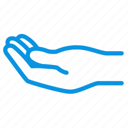 alms, hand, palm, request, share icon