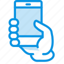 demonstrate, hand, show, smartphone icon