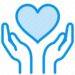 care, hands, heart icon