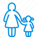 child, daughter, family, girl, mom, mother, parental control, woman icon