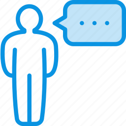 comment, dialog, man, opinion, speak, talk, user icon
