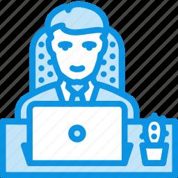 laptop, man, office icon
