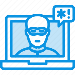hack, hacked, hacker, laptop, security, threat, unsecure, violation icon