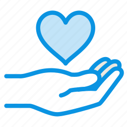 gesture, gift, give, hand, heart, love icon