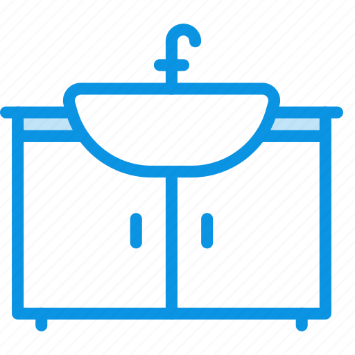 bathroom, furniture, interior, sink, wash, water icon