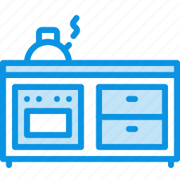 cooker, furniture, interior, kettle, kitchen, oven icon