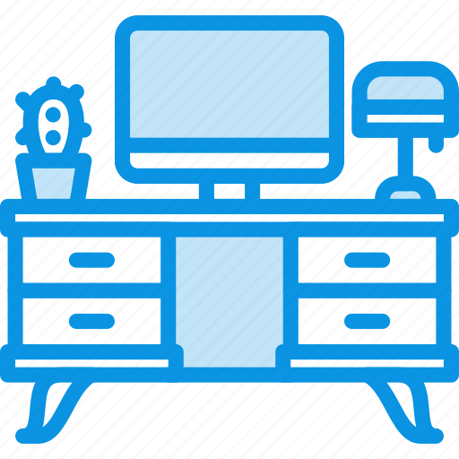 computer, desk, furniture, household, interior, office, table, workplace icon