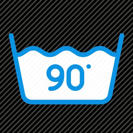 degrees, machine, ninety, wash icon